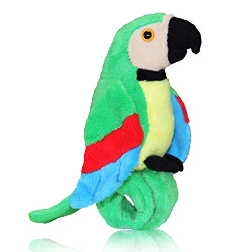 Talking Parrot Plush Toy Repeats What You Say, Slap Bracelet Stuffed Animals for Kids, Interactive Mimicry Electronic Pet (Green)