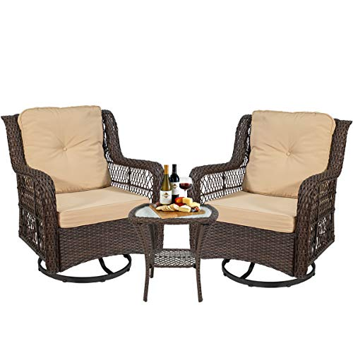 3-Pieces Patio Wicker Bistro Furniture Set with Cushioned Swivel Rocking Chairs Side Table Outdoor Rattan Conversation Set (Beige)