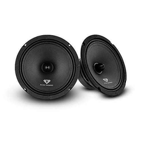 """Black Diamond Dia-CM6.4B 6.5"""" Mid-Range Loudspeaker with Bullet - 6.5-Inch Midrange, 120 Watts Max, 60 Watts RMS, 4-Ohm, 1"""" Voice Coil - Replacement Mids for Car or Truck Stereo Sound System (Pair)"""