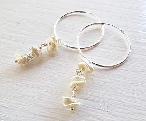 White keshi pearl hoop earrings, 925 sterling silver chandelier, minimalist jewellery, dainty style, gemstone jewels, june birthstone