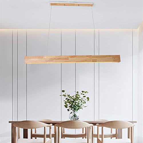 ZXM Lampara Colgante de Mesa de Comedor de Madera LED Pantalla de acrilico Rectangular Ajustable en Altura para lampara de Isla de Cocina de Oficina,White Light,123CM