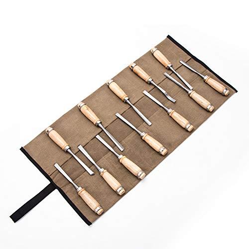 Super Tool Rolltasche, gewachstes Segeltuch, Mehrzweck-Werkzeugtasche, Holzbearbeitung und Schnitzen, coffee