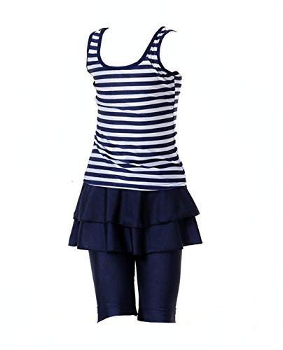 iDrawl Mädchen Navy Badeanzug Muslim Islamischen Full Cover Bademode Top + Hosen Wassersport UV Schutz Anzug,11-12 Jahre