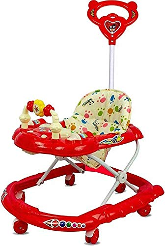 Goyal's Cartoon Baby Adjustable Walker - Music & Rattles with Parental Handle (Red)
