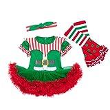 Baohooya Conjuntos Bebe Niña Invierno 0-24 Meses - Disfraz Elfo Navidad Vestido + Calcetines + Diadema Ropa Niños (12-24 Meses, Verde)