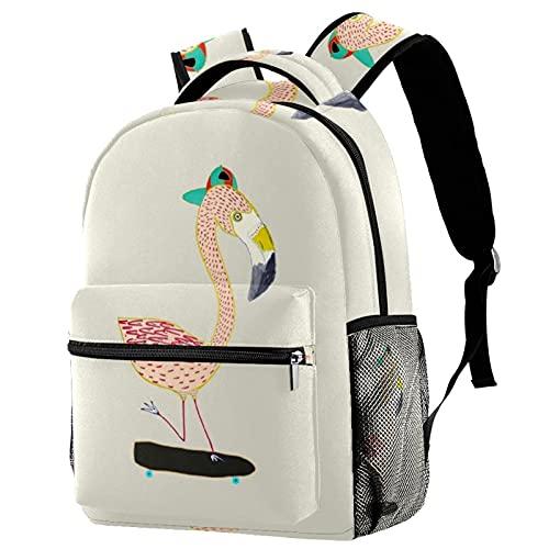 Freizeit Campus Reise Rucksäcke Flamingo Skateboard Taschen mit Flaschenhalter für Mädchen Jungen
