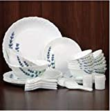 Laopala English Lavender Novo Collection Opalware Dinner Set, 35 Pieces, White