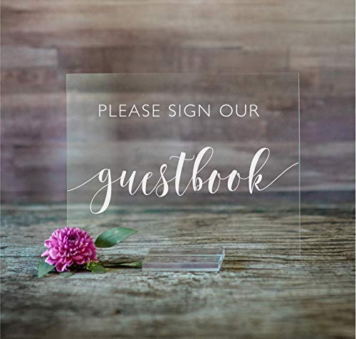 Please Sign Max 65% OFF Our Guestbook San Antonio Mall Acrylic Modern Wedding With 8x10