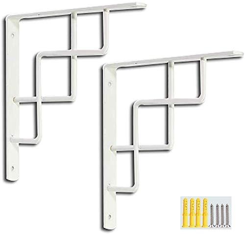 Soporte de estante flotante N / A de 90 grados, soportes de metal para estantes, ahorro de espacio, montado en la pared, 2 unidades para banco de trabajo de mesa, Blanco, 140x140mm