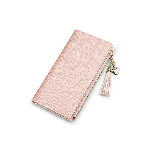 Portafoglio Donna Grande Portamonete Ragazza Porta Tessere In Pelle Slim Clutch Per Telefono Porta Carte Credito Idee Regalo (Rosa)