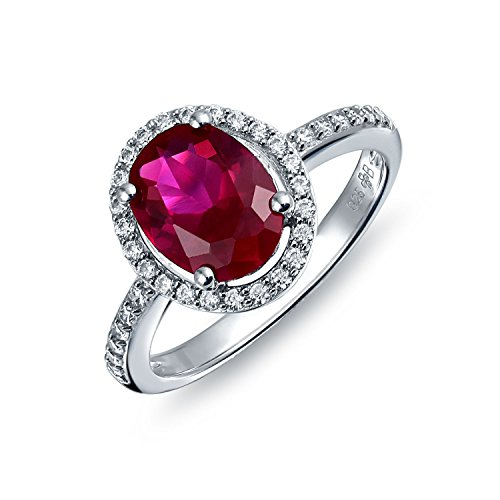 [ブリングジュエリー] ルビー色 楕円 CZ (キュービックジルコニア) リング スターリング シルバー 925 銀 指輪 婚約指輪 サイズ 18号