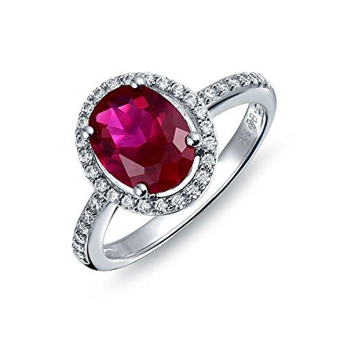 Bling Jewelry 3CT Cubic Zirconia CZ Pave Ovale Solitario Alone Rosa Rosso Rubino Simulato Anello di Fidanzamento per Donne Argento 925