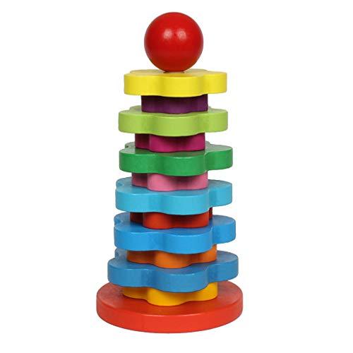 B Blesiya Kinder Pädagogisches Holzspielzeug - Regenbogen Turm Baustein Stapelspiel - Mehrafrbig