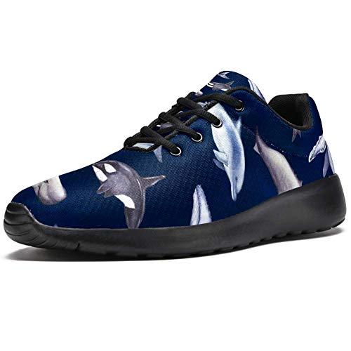 Bennigiry Muster Delphin Wal Athletic Trainers Leichter Sportschuh für Damen, mehrfarbig - mehrfarbig - Größe: 40.5 EU
