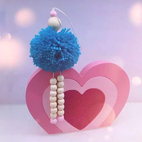 Huake Kaicheng Dekoration- Kinder Zelt Haarball-Engel Holzperlen Villain Anhänger Dekoration Spielzeug (weiß). (Color : Blue)