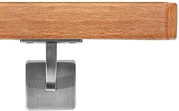 Enden = Edelstahlecke Eiche Gel/änder Handlauf Set Bausatz mit gewinkelte Halter verschiedene Endst/ücke L/änge 30-500 cm aus einem St/ück//zum Beispiel L/änge 50 cm mit 2 Halter