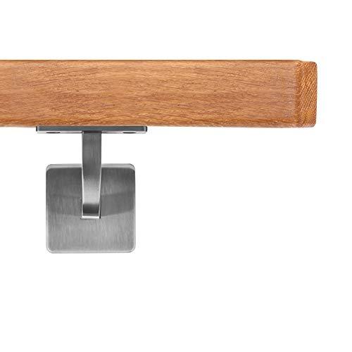 Handlauf Holzhandlauf VKT 42 x 42 mm Wandhandlauf deutsche Eiche Halter eckig 200 cm 2 Halter