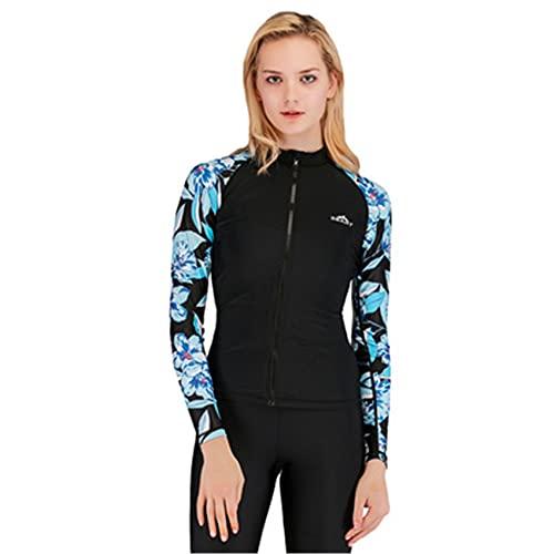 Split Snorkeling traje de baño femenino traje de buceo conservador de manga larga protector solar ropa de surf medusas, tops, XL