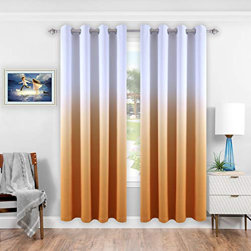 DONREN Ombre Blackout Curtains Thermal Insulated Grommet Gradient Color Window Drapes for Living and Bedroom Set of 2 Curtain Panels 52 x 84 inch Mustard Yellow