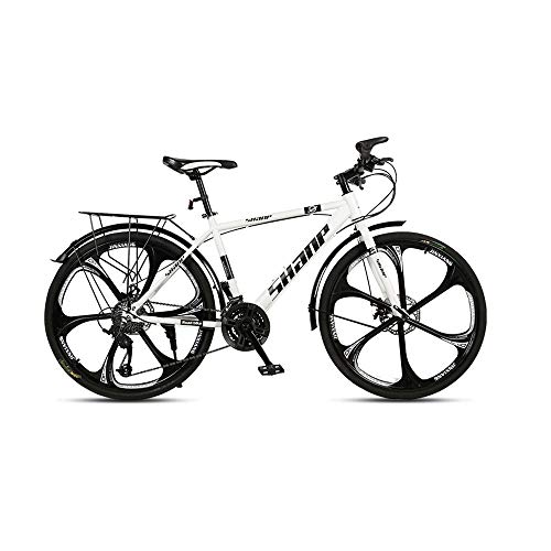 GYZLZZB Six Cutter Wheels Adult 26 Inch 21-Speed Bicycle Full Suspension Gears Dual Disc Brakes Mountain Bicycle, High-Carbon Steel Outdoors Mountain Bike with Shelves and Fenders(White)