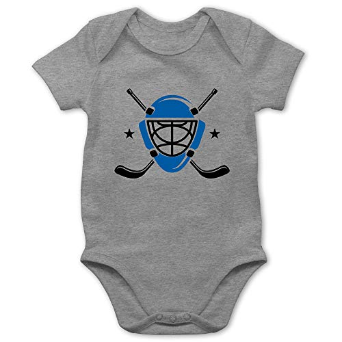 Sport Baby - Eishockeyschläger Helm - 3/6 Monate - Grau meliert - Eishockey - BZ10 - Baby Body Kurzarm für Jungen und Mädchen