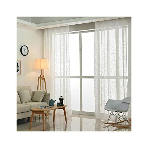 Cortinas de tul con bordado blanco geométrico para la sala de estar, moderna cortina transparente para…