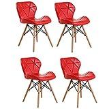 ZYXF 4 sillas Comedor nórdicas Retro Oficina Silla Lounge, Patas Madera PU Cuero Cómodo Asiento Acolchado Mariposa Tipo Respaldo (Color : Red)