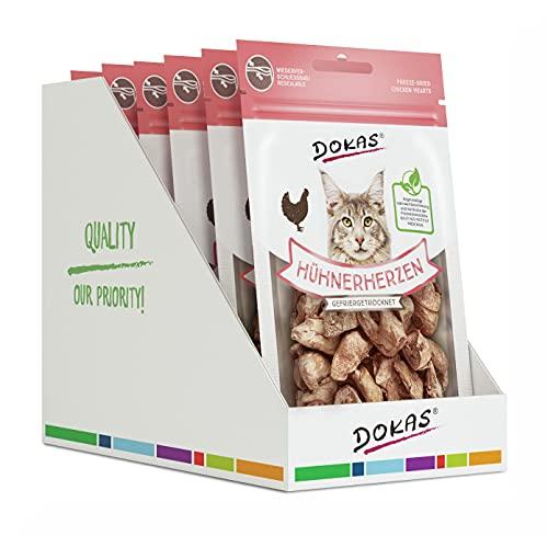 DOKAS Gefriergetrocknete Innereien - Getreidefreies Premium Leckerli für Katzen – Ideal als Belohnung