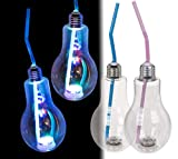 Toyland 400ml Trinkglas mit durchsichtiger Kunststoff-Glühbirne und Lichtfunktion + Pinkes Strohhalm - Partygeschirr