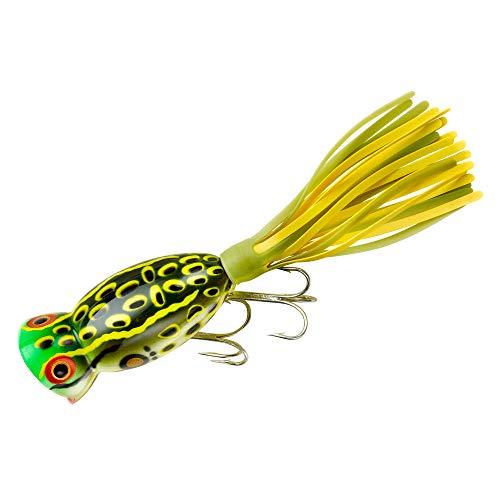 Arbogast Hula Popper Fishing Lure-2 in-Bull Frog - Chartreuse/White Skirt