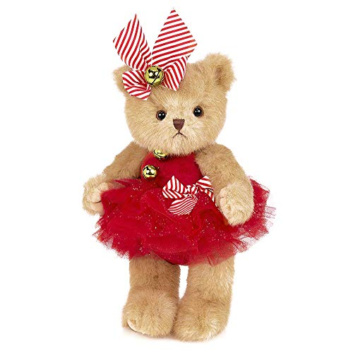 Bearington Jenny Jingles, Christmas Plush Stuffed Animal Ballerina Teddy Bear, 10 inches
