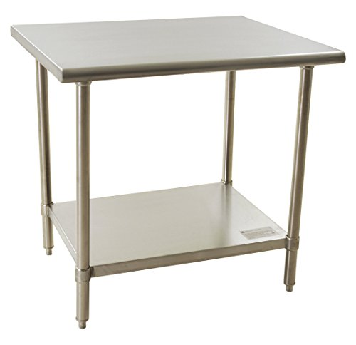 """BlendPort BPT-3036SL Economy Table, Flat Top, All Stainless Steel, 30"""" W x 36"""" L, Silver"""
