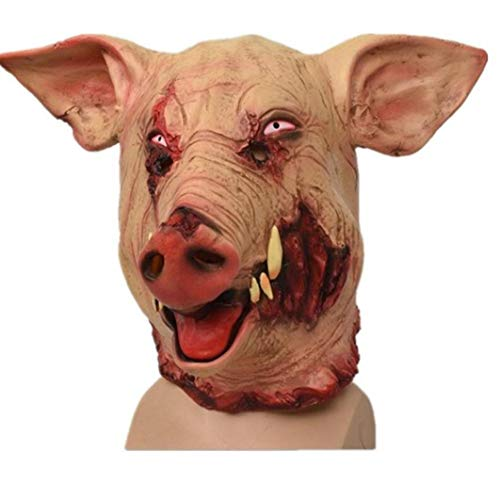 PiniceCore 1pc Schweinekopf Halloween Horror Maske Scary Tierkopfbedeckung Halloween Dekoration Big Fangs Wildschwein Halloween Cosplay Schwein Scary Decor