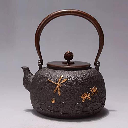 XHCP Tetera de cerámica antigua de hierro fundido para