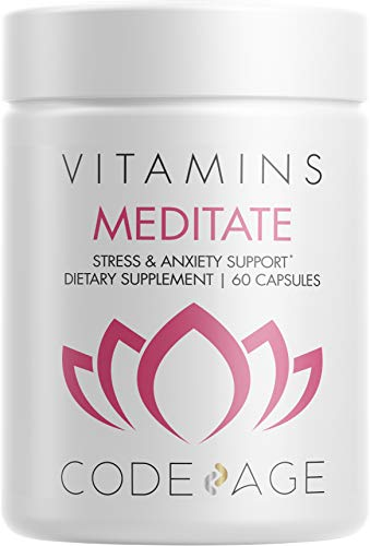 Codeage Meditate - Stress & Anxiety Support Supplement w/ DHH-b, Brain Booster & Memory Support w/ NeuroFactor®, Natural Focus, Energy & Serotonin, Calm Adrenal Fatigue - 60 Capsules