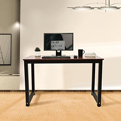 Escritorio para ordenador, mesa pequeña para juegos, mesa de oficina, mesa para ordenador portátil, 120 x 60 cm, para oficina en casa, fácil montaje, metal y madera, diseño vintage, negro