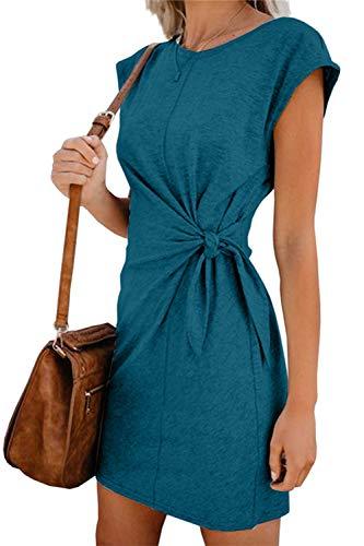 Sommerkleid Damen Elegant Casual Kurzarm Einfarbig Rundhals Party Kurze Kleider Strandkleid Minikleider (328-Grün, S)