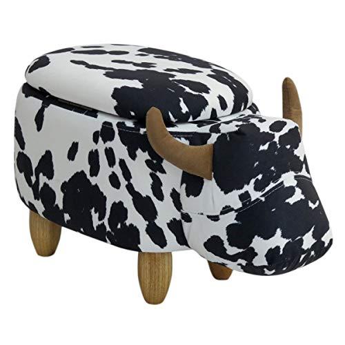 SVITA Animal Storage Kinderhocker Tierhocker mit Stauraum gepolsterter Hocker mit Holzbeinen Schwarz / Weiß gefleckt Tier-Motiv Kuh