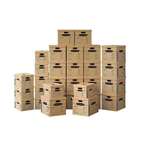 Bankers Box SmoothMove Classic Moving Kit Boxes, Tape-Free Assembly, Easy Carry Handles, 10 Small 20 Medium, 30 Pack (7716601)