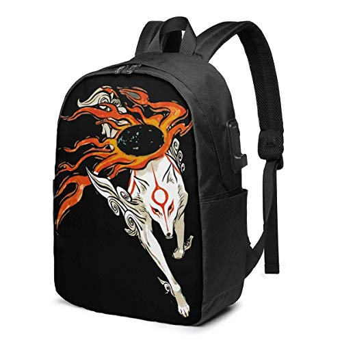 YTHH Okami Anime Cartoon Backpack Computer Backpack Travel Bag for Business Trip Large Capacity 17 Inch with USB Interface