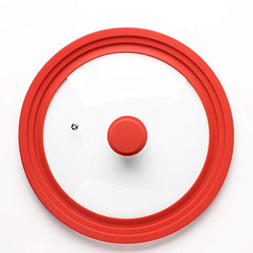 Maniny Coperchio in Vetro per casseruola - Coperchio in Vetro Universale per padelle e pentole con Ø di 28, 30 e 32 cm - Rosso