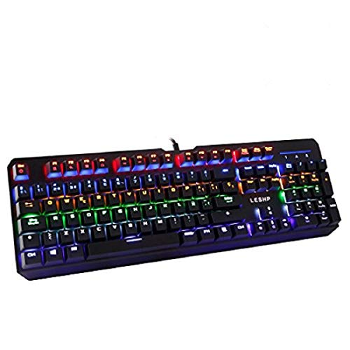 Gaming-Tastatur – LESHP, mechanische Gaming-Tastatur, 7 Farben LED, RGB Tastatur, Anti-Ghosting 104.