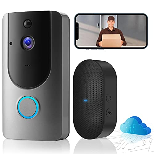 Smart Wireless HD Video Doorbell Camera, 2.4GHz WiFi, Doorbell Security Camera with Chime, Free Cloud Storage, Night Vision, Two-Way Audio, PIR Motion Detection, Real-time Video, for iOS & Android