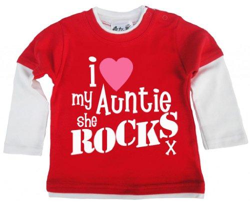 Dirty Fingers, I Love My Auntie She Rocks x, Baby Unisexe Skater Top - Rouge - XXXXS