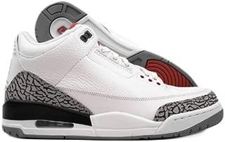 NIKE Mens Air Jordan 3 Retro White Cement Leather Basketball Shoes