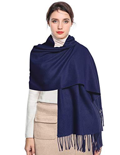 Pashmina Scarf Women Soft Cashmere Scarves Stylish Large Warm Blanket Solid Winter Shawl Elegant Wrap 78.5'x27.5'(Navy Blue, Bag packing)