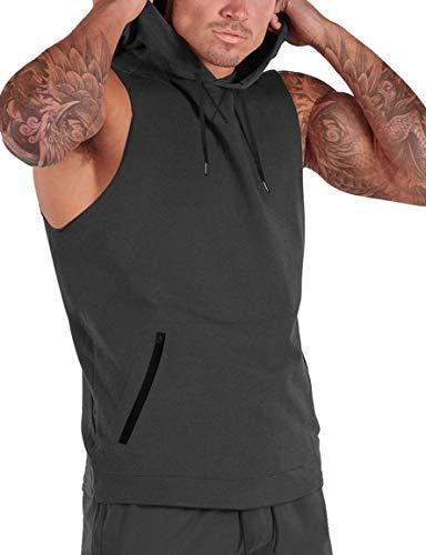 iWoo Camiseta sin mangas para hombre con capucha y sin mangas, para gimnasio, entrenamiento, color gris oscuro