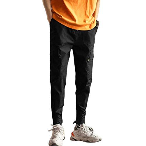 Pantalones Cargo de Cintura elástica para Hombre, Bolsillos Grandes, Pantalones Harem Informales de Moda Lisos con Aberturas Ajustables en los Tobillos 3X-Large