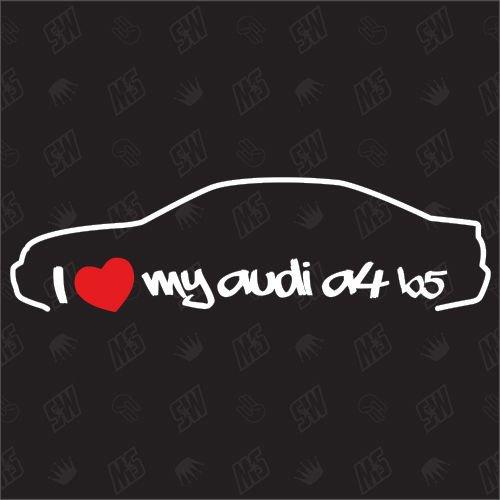 speedwerk-motorwear I Love My A4 B5 Limousine - Sticker kompatibel mit Audi - Baujahr 1995-1999