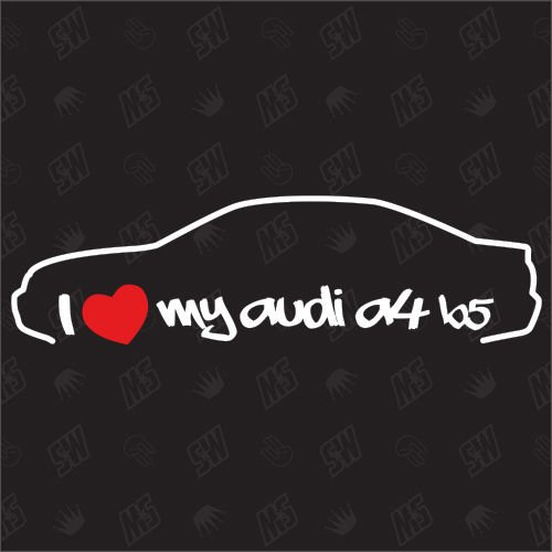 speedwerk-motorwear I Love My A4 B5 Limo - Sticker, Bj.95-99, kompatibel mit Audi